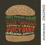 tasty hamburger. vector... | Shutterstock .eps vector #256229632
