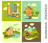 set of residential buildings.... | Shutterstock .eps vector #256234222