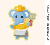 animal elephant chef cartoon... | Shutterstock .eps vector #256249498