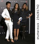 "Small photo of LOS ANGELES - FEB 24: April Daniels, Sheree Fletcher, Diann Valentine at the ""Focus"" Premiere at TCL Chinese Theater on February 24, 2015 in Los Angeles, CA"