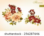 set of bouquets of roses  can... | Shutterstock .eps vector #256287646