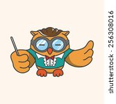 animal owl playing instrument... | Shutterstock .eps vector #256308016