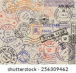 vector retro postage stamp on... | Shutterstock .eps vector #256309462