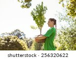 environmental activist about to ... | Shutterstock . vector #256320622