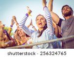 excited music fans up the front ...   Shutterstock . vector #256324765
