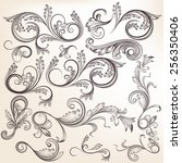 vector set of swirl elements... | Shutterstock .eps vector #256350406