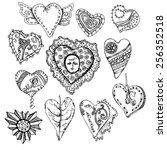 vintage sketch hand drawn hearts | Shutterstock .eps vector #256352518