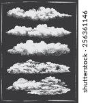 chalkboard vintage retro clouds ... | Shutterstock .eps vector #256361146