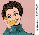 pop art cute retro woman in...   Shutterstock .eps vector #256370035