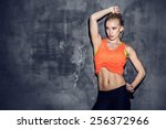 fitness lifestyle portrait ... | Shutterstock . vector #256372966
