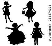vector silhouette of girl on a... | Shutterstock .eps vector #256374316