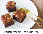 chocolate brownie on table with ... | Shutterstock . vector #256385296