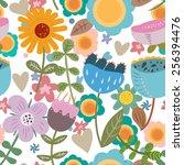 vector flowers pattern   Shutterstock .eps vector #256394476