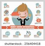 saving money info graphics.   Shutterstock .eps vector #256404418