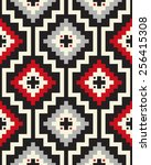 tribal seamless colorful... | Shutterstock .eps vector #256415308
