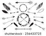 vector feathers and arrows set   Shutterstock .eps vector #256433725