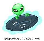 cartoon alien looks out of a... | Shutterstock .eps vector #256436296