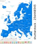 europe   map and navigation... | Shutterstock .eps vector #256448545