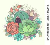 floral composition of flowers... | Shutterstock .eps vector #256450246
