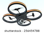 one small drone with a camera ... | Shutterstock . vector #256454788