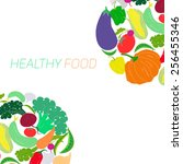fresh vegetables with... | Shutterstock .eps vector #256455346