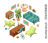 isometric objects from a retro... | Shutterstock .eps vector #256458808