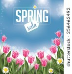 spring sale background with... | Shutterstock .eps vector #256462492