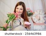 pregnant woman  brunette ... | Shutterstock . vector #256463986