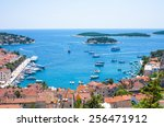 hvar city and harbor from the... | Shutterstock . vector #256471912