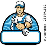 the mechanic mascot with the... | Shutterstock .eps vector #256491592