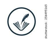 book write icon  round shape ... | Shutterstock . vector #256495165
