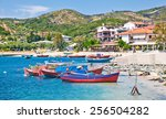 beautiful ouranoupolis harbour... | Shutterstock . vector #256504282