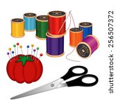 sewing kit with silver needle ... | Shutterstock .eps vector #256507372