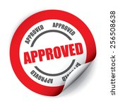 approved sticker and tag   red | Shutterstock . vector #256508638