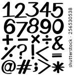 set of numbers in black colors... | Shutterstock .eps vector #256530538