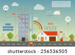 flat and country house with...   Shutterstock .eps vector #256536505