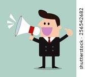 businessman with a megaphone... | Shutterstock .eps vector #256542682