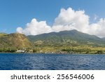 Fishing boats on the south shore, St. Kitts - stock photo