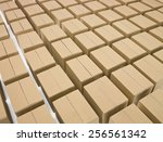 arranged cardboard boxes on... | Shutterstock . vector #256561342