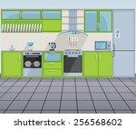 modern green kitchen interior | Shutterstock .eps vector #256568602