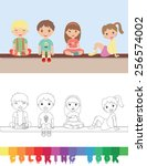 coloring book with kids  ... | Shutterstock .eps vector #256574002