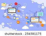 computer device mail send... | Shutterstock .eps vector #256581175