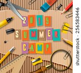 summer camp themed poster ... | Shutterstock .eps vector #256583446