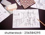 interior sketches, bedroom, living room, kitchen.