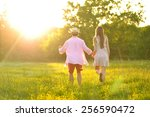 young couple in love having fun ... | Shutterstock . vector #256590472