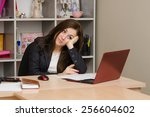 girl in office looking... | Shutterstock . vector #256604602