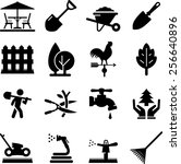 lawn care and landscaping icons | Shutterstock .eps vector #256640896