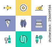 flat line icons of preparing... | Shutterstock .eps vector #256649566
