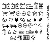 shopping e commerce icons set.... | Shutterstock .eps vector #256651882