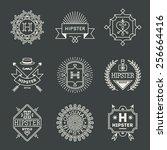 retro design hipster insignias... | Shutterstock .eps vector #256664416